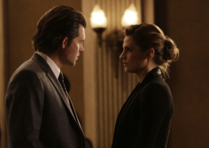 """CASTLE - """"Witness for the Prosecution"""" - Castle finally gets his day in court when he takes the stand as the key witness to a murder from five months ago. But when new information suddenly arises, he and Beckett must race against the clock to prevent a miscarriage of justice, on """"Castle,"""" SUNDAY, FEBRUARY 14 (10:00-11:00 p.m. EST) on the ABC Television Network. (ABC/Scott Everett White) CLARE GRANT, KRISTOFFER POLAHA, STANA KATIC"""