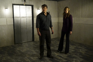 "CASTLE - ""The Blame Game"" - Castle is captured and forced to work with strangers to solve deranged puzzles and mind games, while Beckett and the 12th Precinct must race against time to rescue Castle and catch a killer, on ""Castle,"" MONDAY, FEBRUARY 22 (10:01-11:00 p.m. EST) on the ABC Television Network. Amy Robach (""GMA"") guest stars as Lila Campo, a TV news producer. (ABC/Richard Cartwright) NATHAN FILLION, STANA KATIC"