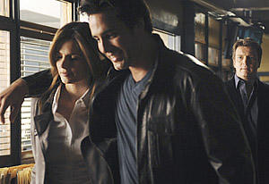 "CASTLE - ""Punked"" - Castle and Beckett look into the murder of a young mathematician gunned down with a 200-year-old bullet, sparking some wild theories by Castle about a time-travelling killer. When their investigation uncovers a tricked-out DeLorean and a suspect in Victorian clothing, is it possible Castle's crazy idea has some validity? This winding tale twists through the towers of Wall Street and into the world of a secret steampunk society that embraces the romance and simplicity of the past, while coupling it with the hope and promise of the future, on ""Castle,"" MONDAY, OCTOBER 11 (10:00-11:00 p.m., ET), on the ABC Television Network. Victor Webster (as Beckett's new boyfriend), Ken Baumann (as Alexis' first boyfriend) and Eden Riegel (as the sister of the murder victim) guest star in the episode. (ABC/MITCH HADDAD) STANA KATIC, VICTOR WEBSTER, NATHAN FILLION, JON HUERTAS, SEAMUS DEVER"