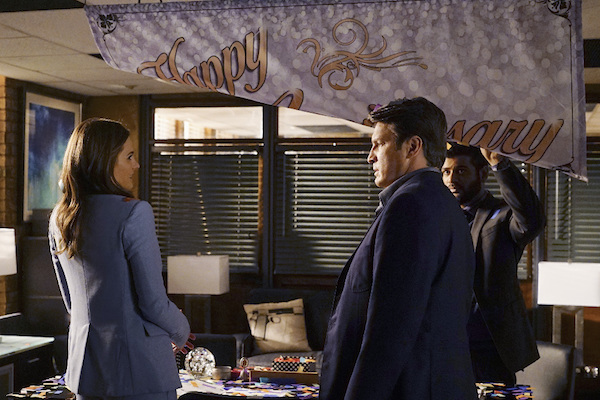 """CASTLE - """"The Last Seduction"""" - In order to hunt down the brutal murderer of a grifting seducer, Castle & Beckett must investigate New York's elite. Meanwhile, Castle plans to surprise Beckett on their one-year wedding anniversary. """"The Last Seduction"""" will air on MONDAY, NOVEMBER 16 (10:01-11:00 p.m., ET) on the ABC Television Network. (ABC/Richard Cartwright) STANA KATIC, NATHAN FILLION, SUNKRISH BALA"""