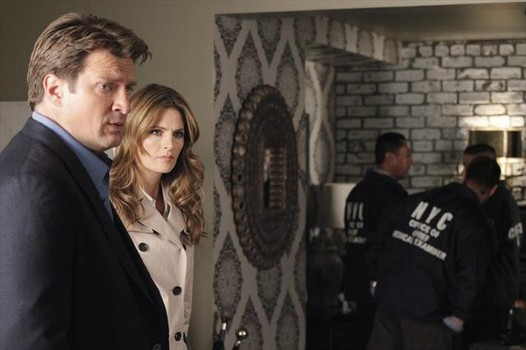 """CASTLE - """"Probable Cause"""" - While investigating a shocking ritualistic murder, Beckett and her team uncover surprising evidence linking Castle to the killing. As the evidence against him mounts, loyalties are tested, and when surprising revelations come to light, Beckett begins to wonder how well she really knows her new lover and partner of four years, on """"Castle,"""" MONDAY, OCTOBER 29 (10:01-11:00 p.m., ET) on ABC. (ABC/RICHARD CARTWRIGHT) NATHAN FILLION, STANA KATIC"""