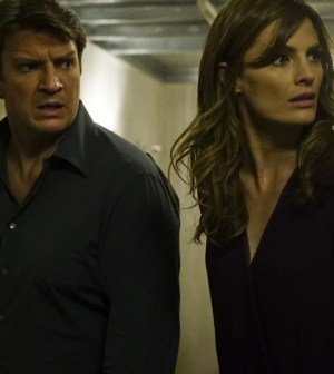 """CASTLE - """"The Blame Game"""" - Castle is captured and forced to work with strangers to solve deranged puzzles and mind games, while Beckett and the 12th Precinct must race against time to rescue Castle and catch a killer, on """"Castle,"""" MONDAY, FEBRUARY 22 (10:01-11:00 p.m. EST) on the ABC Television Network. Amy Robach (""""GMA"""") guest stars as Lila Campo, a TV news producer. (ABC/Richard Cartwright) NATHAN FILLION, STANA KATIC"""
